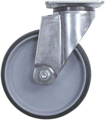 ρόδα ø 125mm στερέωση σε πλάκα 77x67mm περίβλημα επιψευδαργυρωμένο χαλύβδινο φύλλο
