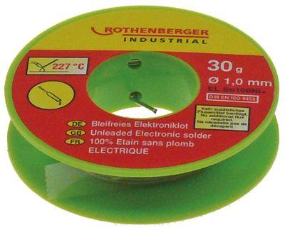 ηλεκτρονικό συγκολλητικό SN100NI+  - μέγεθος 1mm Ποσ. 30g  ROTHENBERGER  Θερμοκρασία τήξης 227°C