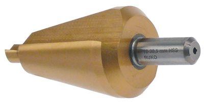 τρυπάνι κωνικό HSS Co5-TiN  εύρος διάτρησης 16-30,5 mm Μ 76mm ø άξονα 9mm