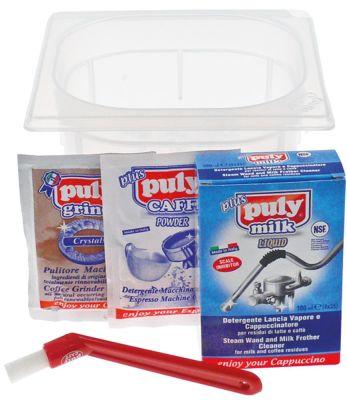σετ καθαρισμού puly CAFF plus  έγκριση NSF  για μηχανή καφέ 4x20g/4x25ml  σετ