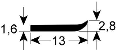 τσιμούχα για πίνακα ελέγχου W 13mm Μ 1500mm κατάλληλο για BOURGEOIS