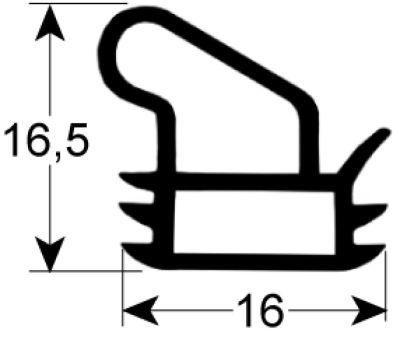 λάστιχο πόρτας Μ 560mm W 428mm 3 πλευρών (μεγάλη πλευρά ανοικτή)